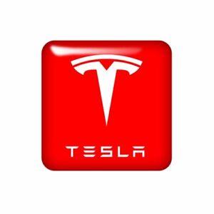 Tesla 25x25mm 3D Domed Sticker / Gel Aufkleber / Badge / Logo