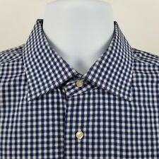 Saks Fifth Avenue Blue Check 100's 2 Ply Men's L/S Dress Button Shirt Sz 17