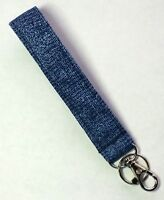 Key Chain Fob Wristlet Lined Cotton Fabric  Lobster Clasp Zipper Pull Blue Weave