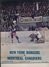 New York Rangers 2/4/1968 Program halt Canadiens 12 game Win Streak + Tickets