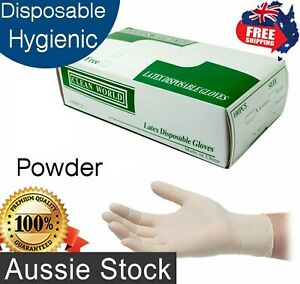 Disposable Latex Gloves Powdered Medium Non Sterile Food Medical Clean World