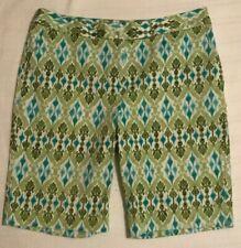 JONES NEW YORK Womens Bermuda Shorts SIZE 12 RN 54050 Green White Print STRETCH