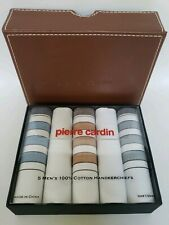 Pierre Cardin 5 Men's 100% Cotton Handkerchiefs Multi Color Blue White Tan Gray
