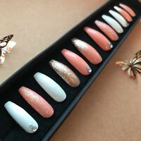 Hand Painted False Nails XL COFFIN (or ANY) Glitter Coral Orange, Gold & White