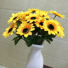1 Bouquet Artificial Sunflower with 7 Flowers for Home Party Wedding Vase Decor