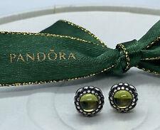 Pandora August Green Peridot Birthstone Stud Earrings #290543PE Authentic Ale