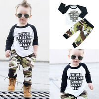 Toddler Kids Baby Boys Letter T-shirt Tops+Camouflage Pants Outfits Clothes Set