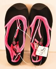 girl's Champion water shoes size lare 4/5 black pink mesh top slip on cushion