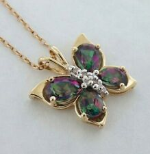 10K Yellow & White Gold BUTTERFLY Pendant w/ Chain - MYSTIC Topaz stones