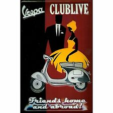 Vespa Scooter Clublive 60's 70's Art Deco Man Cave Medium 3D Metal Embossed Sign