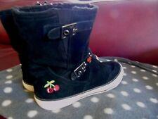 Boots bottines bottes croute cuir daim noir 37 Temps des cerises TDC