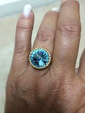 BRAND NEW LARGE TOURMALINE STONE RING SET IN GOLD PLATE SIZE 8