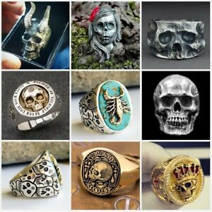 Heavy Men's 925 Silver Plated Gothic Punk Biker  Skull Rings Jewelry Size 7-13