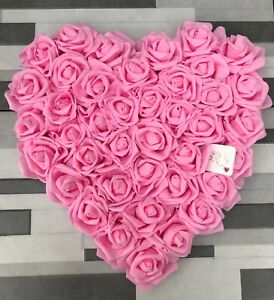 Bright Pink Foam Roses Heart Wall Hanging Decoration 30cm