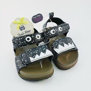Infant Boys Sandals Size 5 (12-18 Mos) First Steps Black White Monster