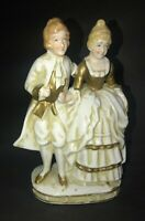 Vintage Hand Painted Made in Japan Figurine Colonial Couple Gilted