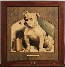 Antique 1900 Cecil Aldin THATS BULLY Bulldog Lithograph Arts & Crafts Oak Frame