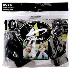 Athletech Boys Ten-Pair Quarter Socks White & Black Shoe Size 9-2.5 NEW