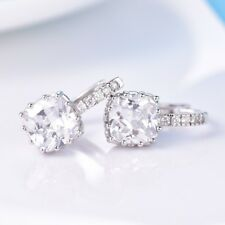 Women Fashion Square Sapphire Rhinestone Crystal Promise Leverback Earrings