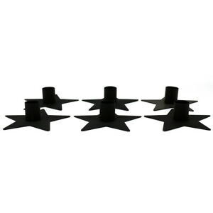 Frosted Black Metal Star Taper Candle Holder LED Candle Accessories, Set of 6