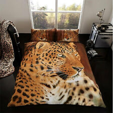Double Bed Size 3D Leopard Duvet Set Quilt Cover With 2 Pillow Cases