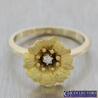 1880s Antique 14k Yellow Gold .04ct Diamond Flower Cocktail Ring US 7.5 N8