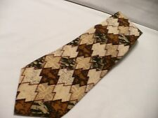 BASS 100% Imported Silk Necktie Handmade in USA Geometric Pattern