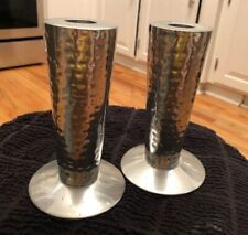 "PAIR OF HAMMERED PEWTER? Silver tone 6"" CANDLE HOLDER"