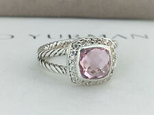 David yurman Albion Petite Ring with 7mm Pink Morganite and diamonds, size 5