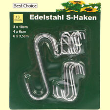 13 Stück Edelstahl S-Haken Set Metallhaken Küchenhaken Fleischerhaken Wandhaken