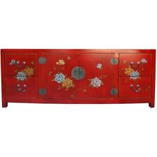 Large Red TV Cabinet Low Sideboard - Flower and Bird Painted (TC-2R)
