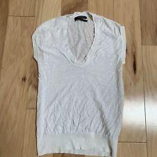 aeed43d227ea7 Club Monaco Women's Top Size XS Ivory Cap Sleeve Linen Deep Scoop Neck