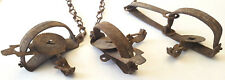 3 Antique Victor Animal Traps-Steel w Chain