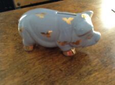 Beautiful Vintage Blue Piggy Bank with gold clover and feet