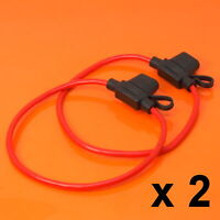 2 x Inline Fuse Holder to Accept 12V 30A Mini Blade Fuses Splash Proof Car Bike