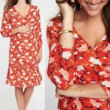 Old Navy Maternity XL Red Floral Empire Dress 3/4 Sleeve Summer Dress