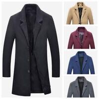 Men's Woolen Long Coat Business Overcoat Casual Trench Coat Jacket