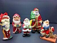 Lot of 5 VINTAGE SANTA CHRISTMAS FIGURINES Ornaments Resin Wood Ceramic