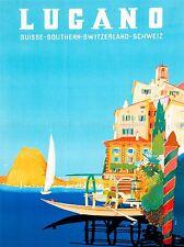 VINTAGE TRAVEL SWITZERLAND BUZZI LUGANO SUISSE ART POSTER PRINT LV5031