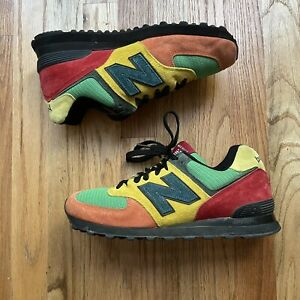 Men's New Balance 574 Made In The USA Suede Yellow Green Sneakers Sz 8.5 (2E)