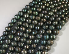 "5 strands x 8-9mm Silver Black Freshwater Pearls Round Beads 14.5"" GB174L"