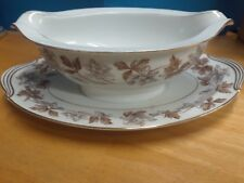 NORITAKE ALLISON GRAVY BOAT WITH ATTACHED UNDERPLATE