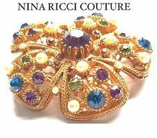 NINA RICCI VINTAGE COUTURE CRYSTAL BROOCH PIN
