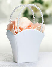 White Flower Girl Basket Pearl Handle