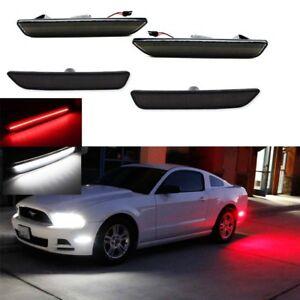 4X For 10-14 Ford Mustang White Red Smoke Lens LED Fender Side Marker Light Kit