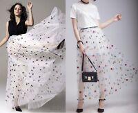 Designer Runway Celebs Embroidered See-through Sheer Tulle Tutu Maxi Long Skirt