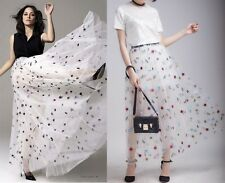Designer Runway Celebs Embroidered See-through Sheer Tulle Tutu Maxi Long Skirt