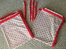Vintage Kitchen Curtains Red Starburst 4 Panels Tiebacks Ruffles