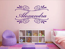 Name Wall Decal in Bloom Monogram Girls Nursery Room Vinyl Wall Decal Graphics