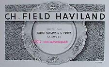 PUBLICITE CH FIELD HAVILAND PARLON PORCELAINE LIMOGES DE 1952 FRENCH AD